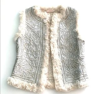 Tory Burch Metallic Embroidered Shearling Vest EUC